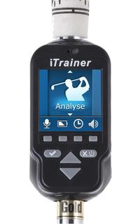 iTrainer is a high-tech golf swing and putting training aid that gives immediate audio and visual feedback. Data of golfers' swings and putts can be wireless transmitted to remote systems such as PC, smartphone, PDA and tablet computers for playback and a